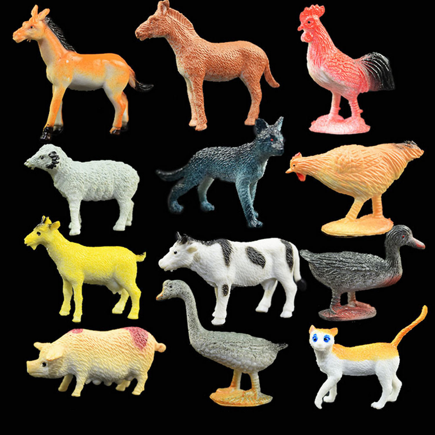 Kids Children 12PCS Mini Simulation Plastic Farm Animals Horse Chicken Sheep Cat Pig Duck Cow Models Educational Toys