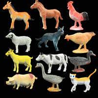 Kids Children 12PCS Mini Simulation Plastic Farm Animals Horse Chicken Sheep Cat Pig Duck Cow Models Educational Toys
