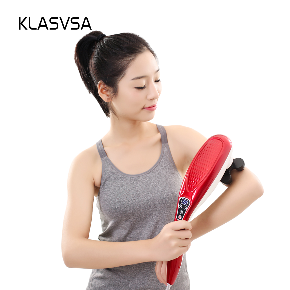все цены на KLASVSA Electric Shiatsu Neck Back Massager Far Infrared Magnet Acupressure Vibration Handle Massage Device Pain Relief