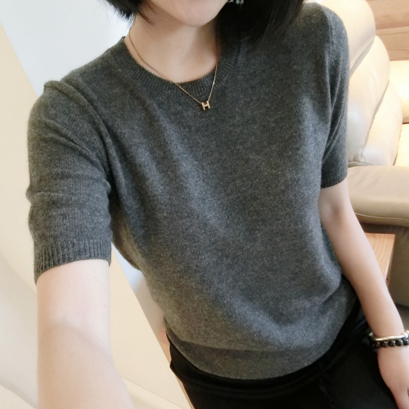 2018 Spring And Autumn  New Female Sweater Pure Wool Coat Wool Sweater Round Neck Cashmere Sweater Short-sleeved Sweater