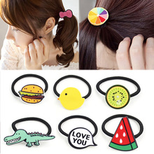 Sale Acrylic Cute Women Hair band Fruit Headwear Candy Child Kids Rope Rubber Bands