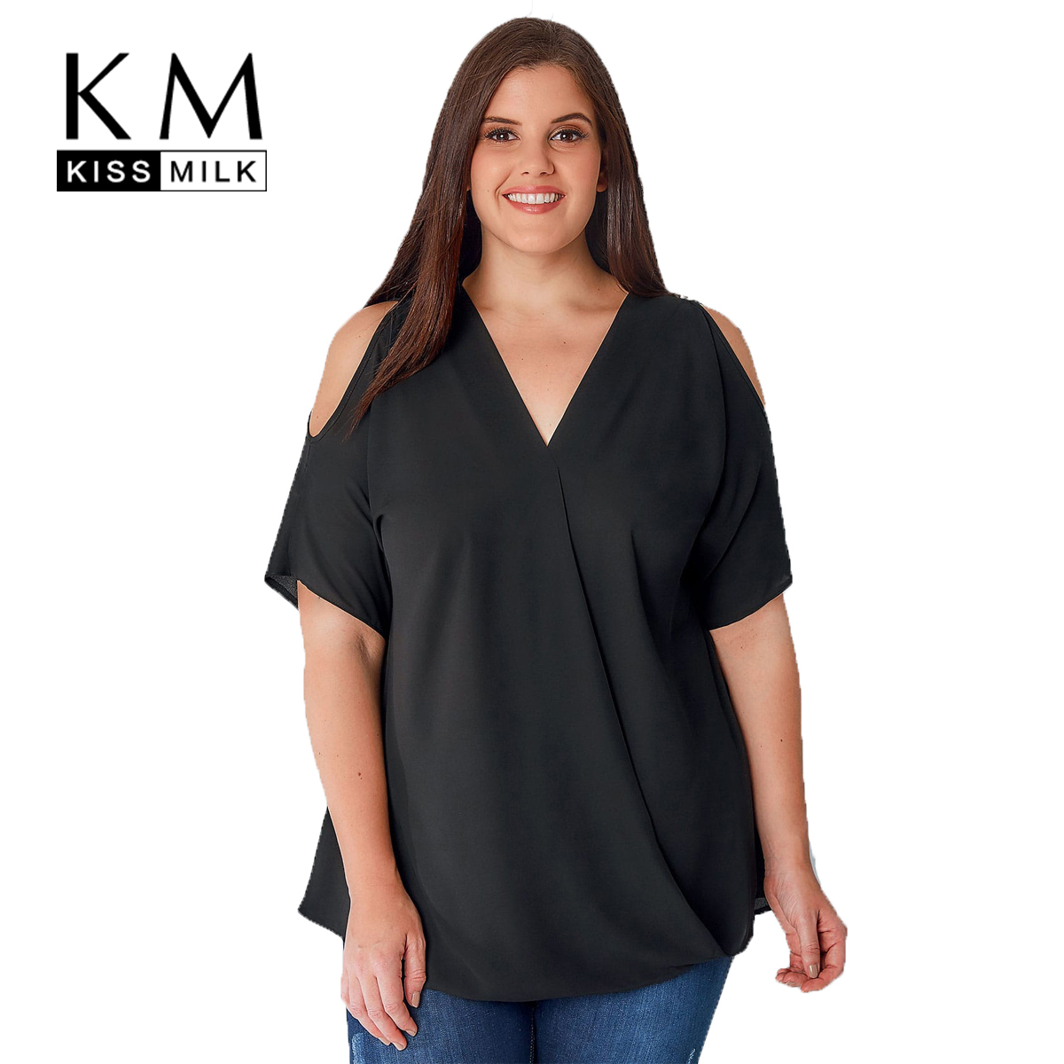 Kissmilk Plus Size Cold Shoulder V Neck Short Sleeve Loose