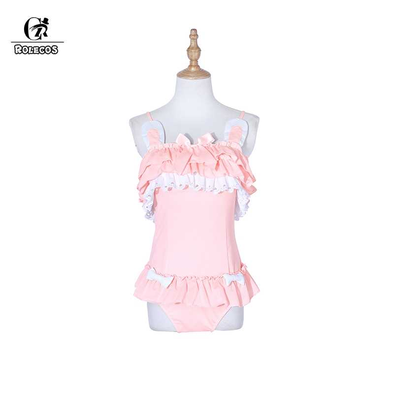 ROLECOS Bunny Swimsuit Sweet Rabbit Swimsuit Lolita Cosplay Costumes Cat Costumes Pink Rabbit One-piece Swimwear Cute Swimsuit