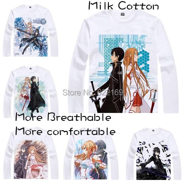2015 칼 아트 온라인 키리 토 카즈 토 키리 가야 T 셔츠 코스프레 의상 남성 일본의 애니메이션 T 셔츠 선물 Camisetas Masculina