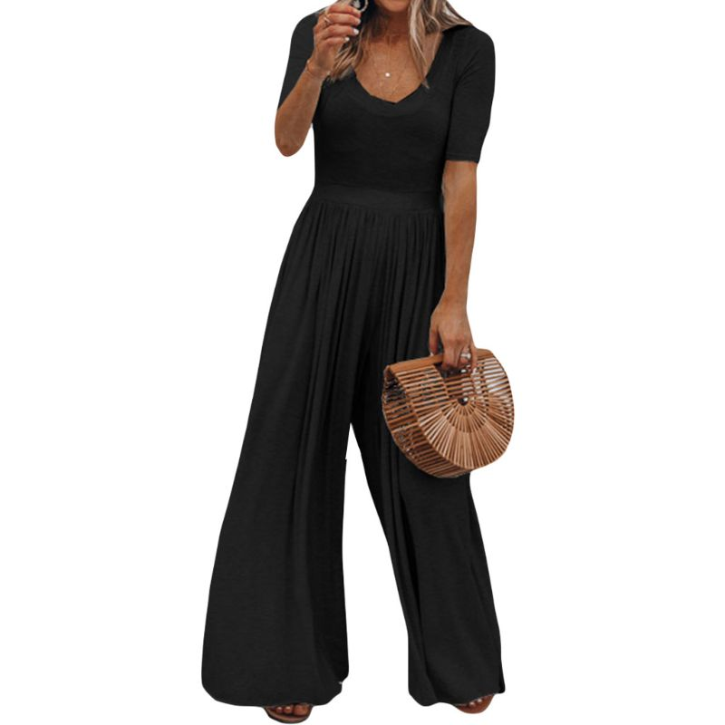 2020 Women Vintage Casual Loose Jumpsuit Summer O Neck Short Sleeve Long Wide Leg Solid Overall Romper