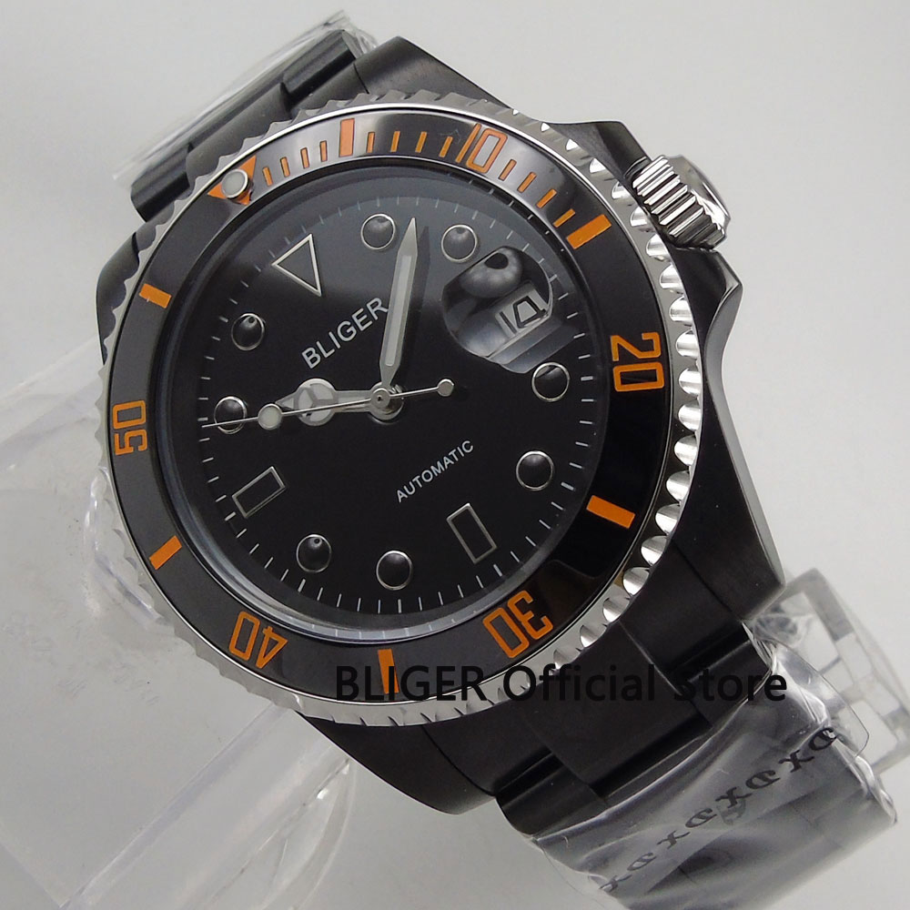 Sapphire Crystal BLIGER 40MM Black Dial Luminous Marks PVD Coated Case MIYOTA Automatic Movement Men's Watch