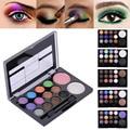 14 colores/set Diamante Brillante Colorido Maquillaje Blush Palette Cosmética Sombra de Ojos En Polvo Glitter Belleza Sombra de Ojos Con El Cepillo Espejo