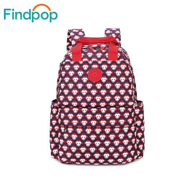 Pretty Style Red Monkey Design Canvas Simple Women Backpack Middle School Student Book Bag Leisure Backpack