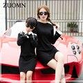 Corea del Estilo de La Madre Hija Vestidos Negro Juego Mirada Trajes Niños Ropa Madre E Hija Familia Bebés se Viste GH275