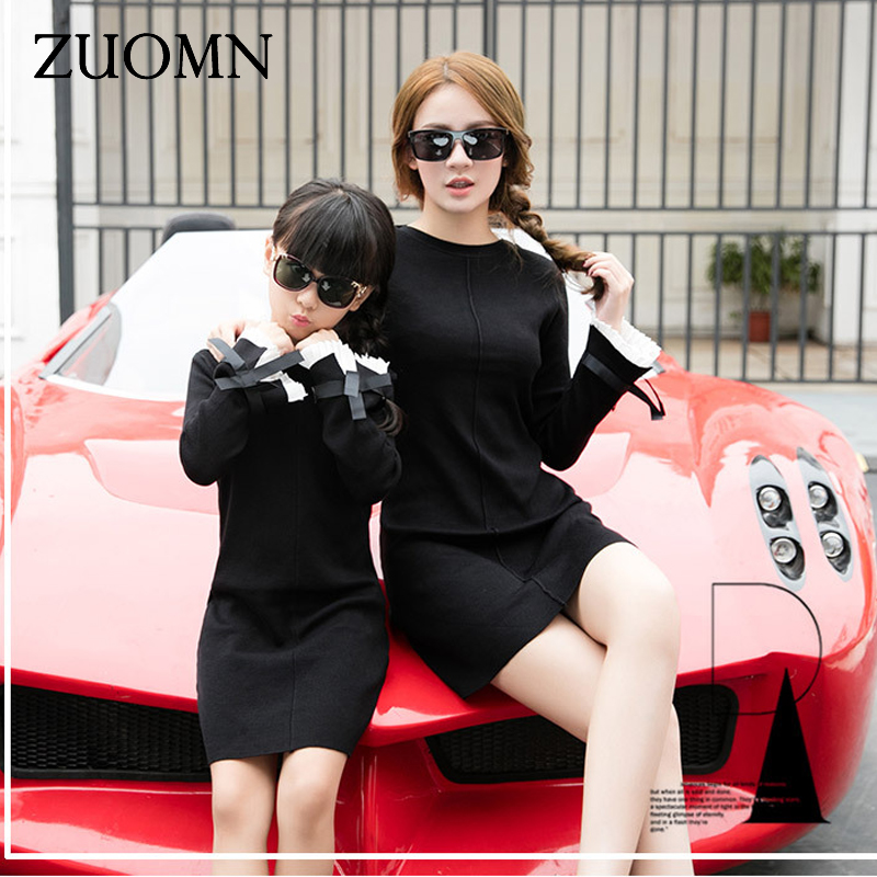 Korea Style Mother Daughter Dresses Black Family Look ...