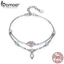BAMOER Romantic New 925 Sterling Silver Sweet Heart Pink CZ Double Layers Bracelets for Women Sterling Silver Jewelry SCB090(China)