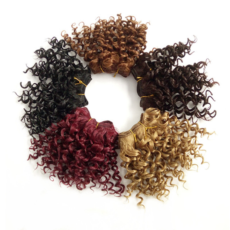 Pervado Hair Piano Color Curly Hair Weft Extensions 3pc/set High Temperature Fiber Synthetic Short Weave Crochet Style