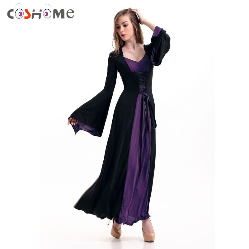 Coshome Medieval Cosplay Costumes Women Wizards Long Evening Dress Adult Halloween Princess Party Games Queen Gothic Clothing