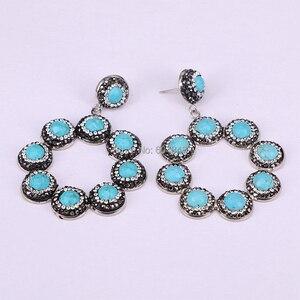 Image 2 - 3Pairs ZYZ184 9003 Handmade Jewelry Blue Howlite Stone Pave Rhinestone Flower Dangle Earrings For Women