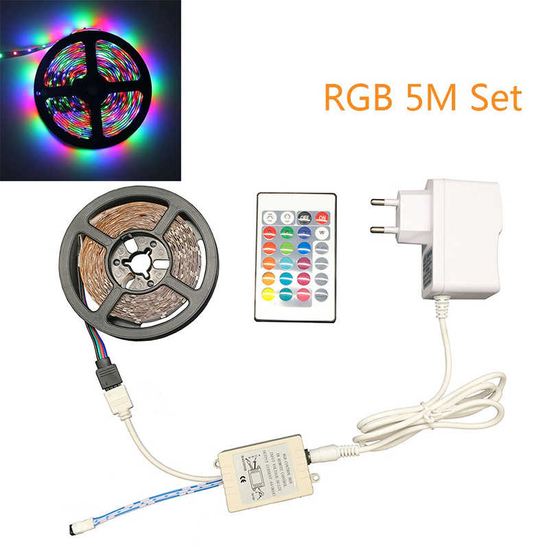RGB LED Strip Lampu SMD3528 2835 RGB 5M 300LED Fleksibel Strip Perekat Remote Controller Adaptor Daya Pita Home dekorasi