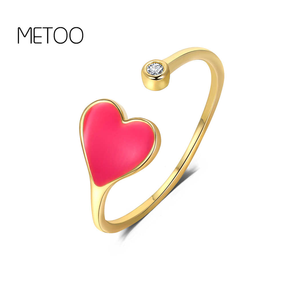 METOO 2 PCS Pink Heart Zircon Rings for Women Open Cartoon Ring Kids Enamel Ring Girls Princess Best Friends Gift Copper Metal