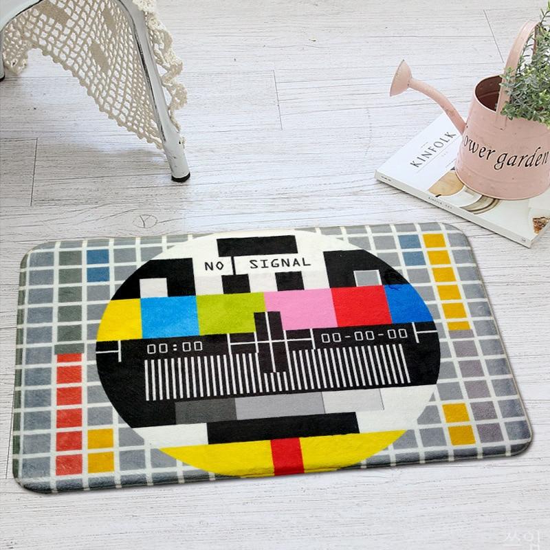 Modern Creative TV Geometric Carpet Vintage Nostalgia Style Floor Doormat Thick Area Rugs Home Decor Living Room Bathroom Carpet