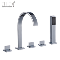 Bathtub Faucets 5 Pieces Mixer for Bath Tub Square 5 Hole Hot and Colder Water Crane with Hand Shower Chrome Finished EL7911