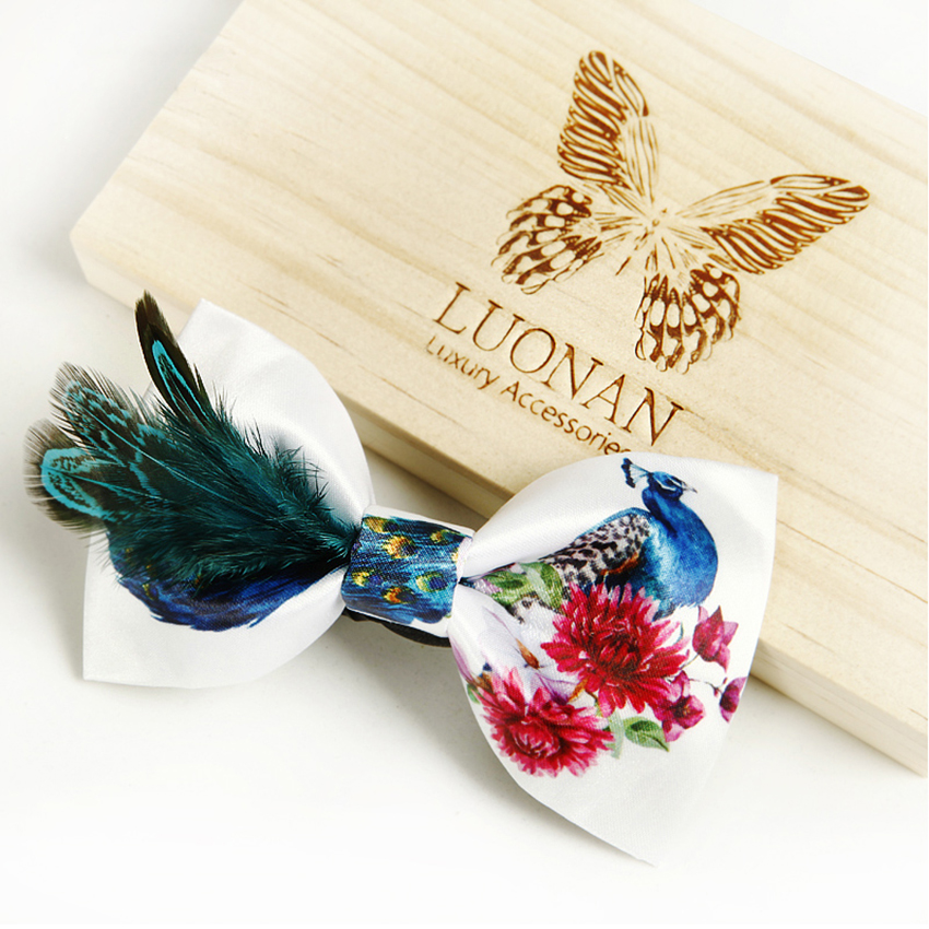 High Quality Bow Tie  Real Feather Print Design Polyester Bowtie Creative Ties For Men Shirt Necktie Cravate Pour Homme