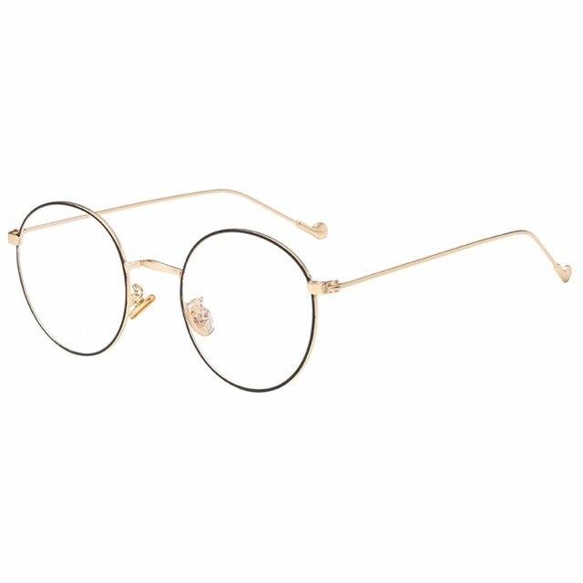 b91e3634b5 Korean Metal Round Frame Myopia Mirror Short Sight Nearsighted Glasses  -1.0~-5.0(black gold)