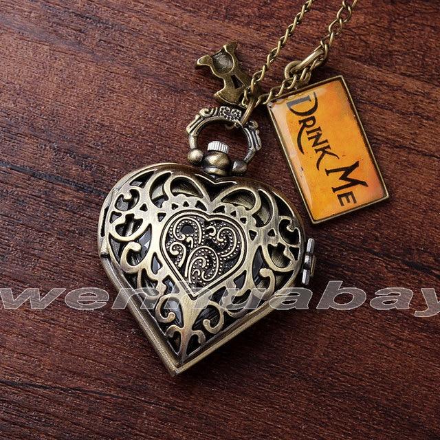Fashion Bronze Heart Shape Hollow Case Drink Me Alice In Wonderland Pocket Watch
