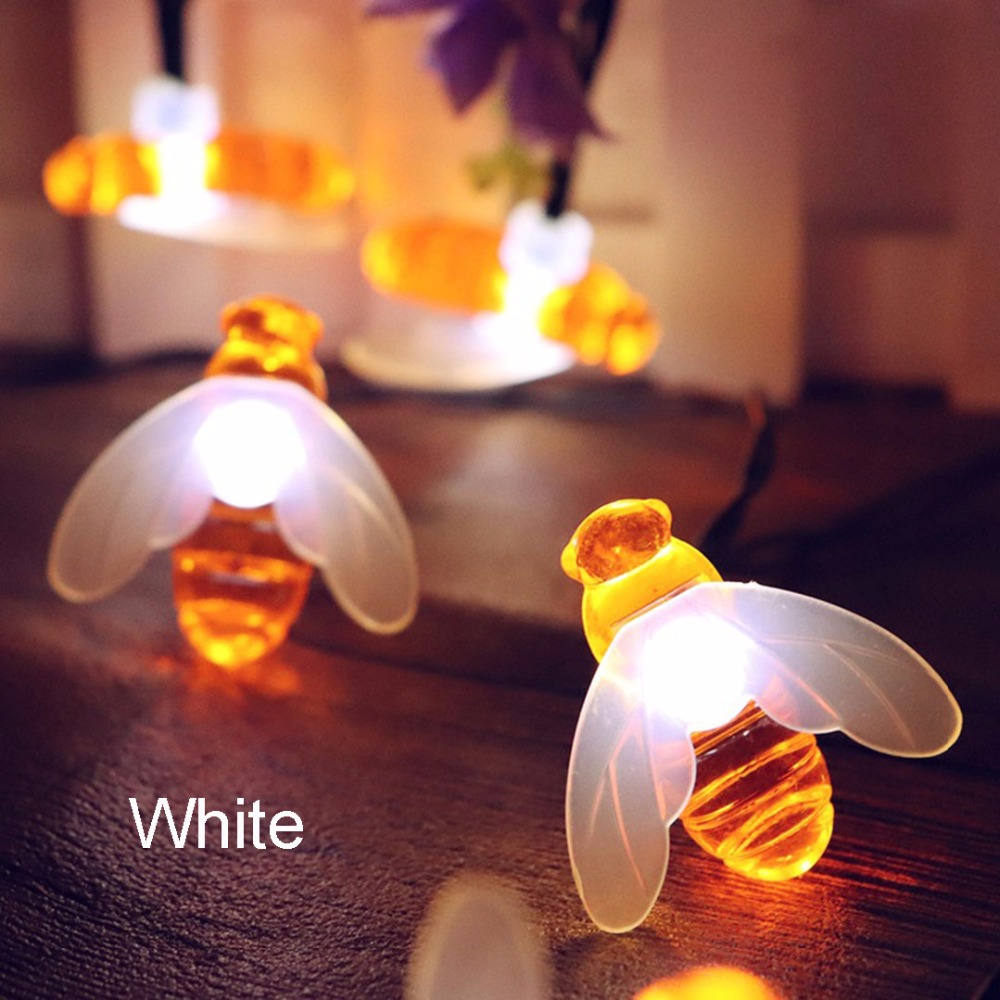 Bee LED Lys String Holiday Lights Garland Batteri USB Operated Fairy - Ferie belysning - Foto 2