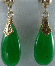 wholesale 1 Pair jewelry Brincos earring Pendientes green jade earrings fashion Fine sterling