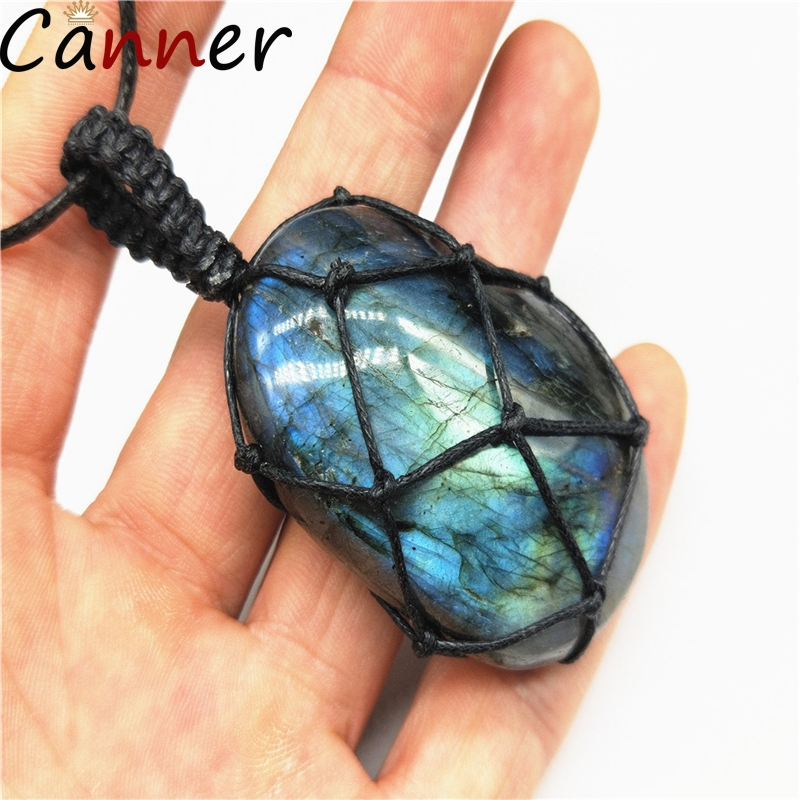 CANNER Cute Rope Chain <font><b>Necklace</b></font> Handmade <font><b>Labradorite</b></font> <font><b>Necklaces</b></font> For Women Geometric Pendant <font><b>Necklace</b></font> Collar Choker Jewelry Gift 4 image