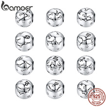 BAMOER 100% 925 Sterling Silve Aquarius Star Twelve Constellations Sign Beads Charms fit Bracelets Women DIY Accessories PSC048 цена
