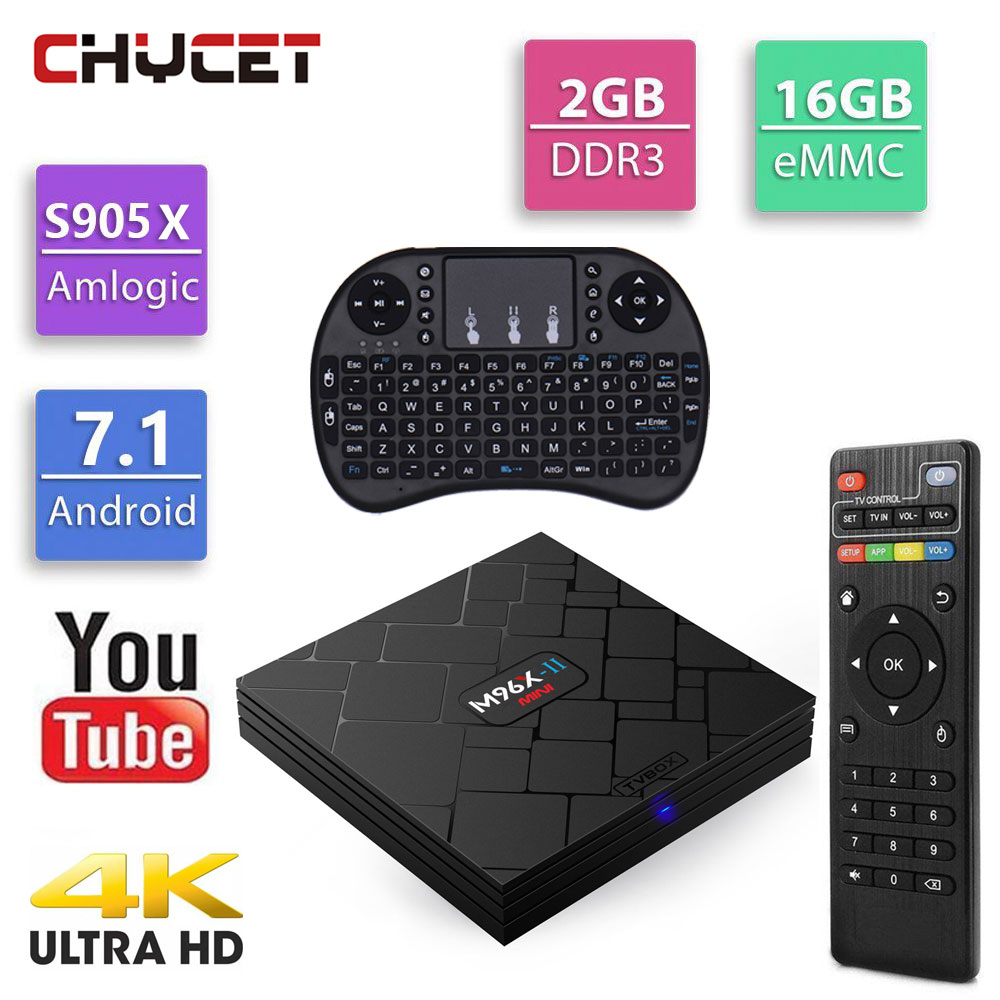 NEW M96XII MINI 2G 16G Android 7.1 TV Box Amlogic S905X Quad Core 2.4G Wifi 4K H.265 Media Player M96X II Set Top Box цена