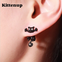 Kittenup New Fashion Cat earring cute  Black Kitten Jewelry Piercing Ear Stud Earrings for Women Femme