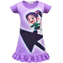 Новое домашнее платье для маленьких девочек платья для маленьких девочек с принтом Wreck-It Ральф 2 Vanellope Von Schweetz модная повседневная одежда с короткими рукавами для малышей