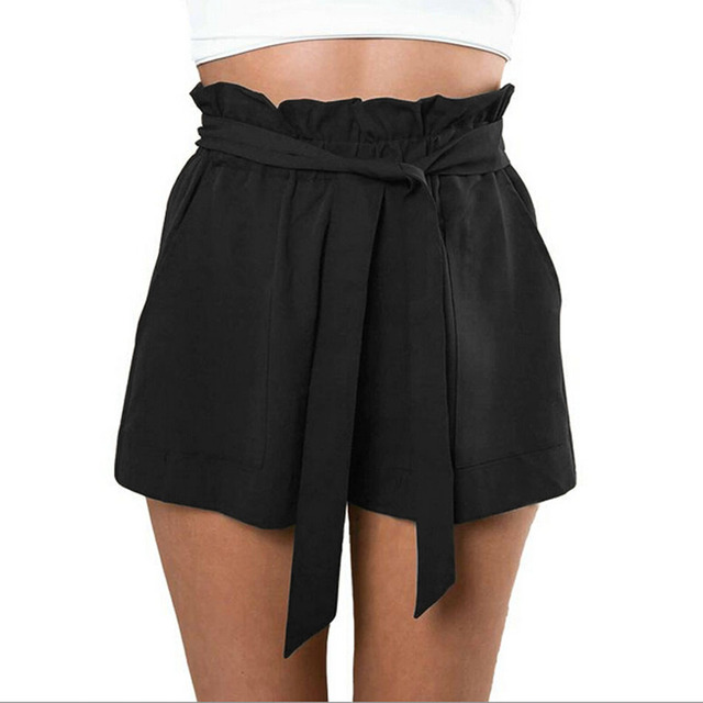 Fashion Women Casual Shorts Design Patchwork Plus Size High Waist Shorts Loose Fashionable Shorts female With Belt