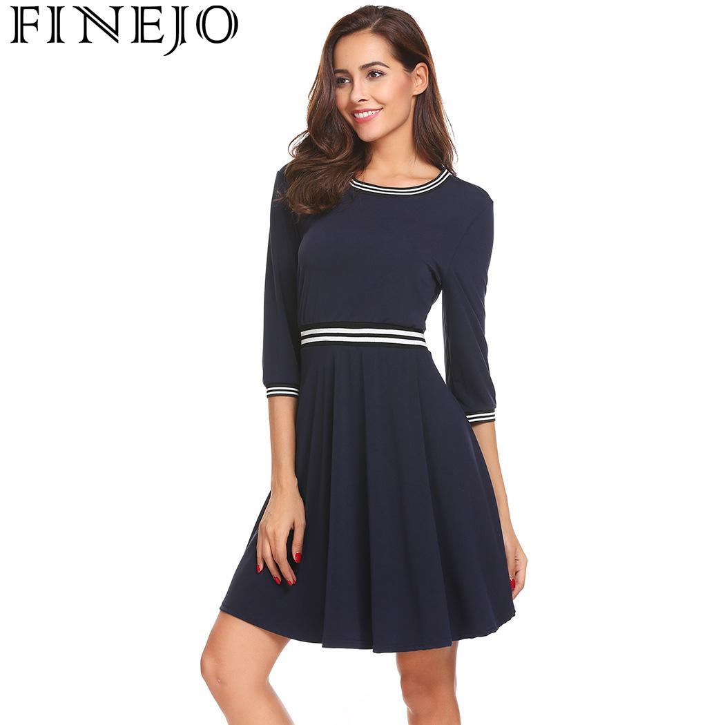 b15b986d29a51 FINEJO Women Dress Sexy 3 4 Fashion O Neck Sleeve Striped trimmed Loose A  Line Elastic Waist Roupas Femininas-in Dresses from Women s Clothing    Accessories ...