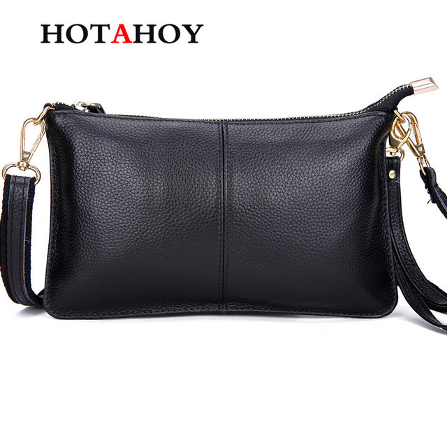 HOTAHOY First Layer Cow Leather Women Messenger Bags Phone Clutch Bag High  Quality Genuine Leather Bag 6d5b7c7c0bd9