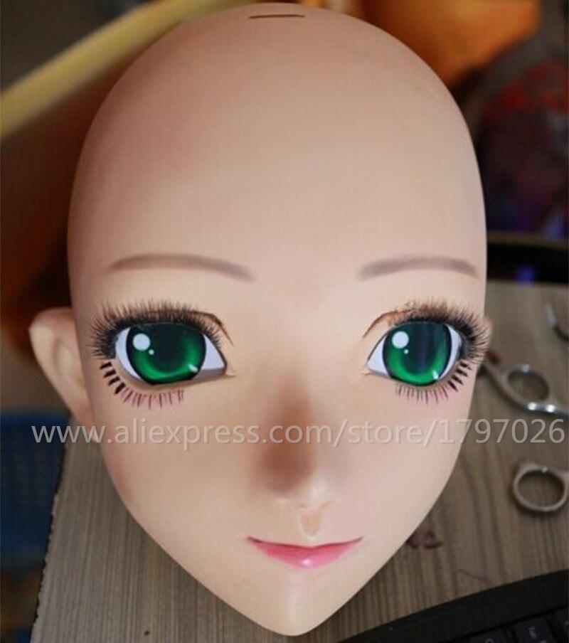 Kigurumi cara Cosplay de silicona media cabeza máscara ojos verdes Anime japonés papel Kigurumi máscara Handemade