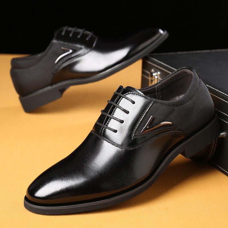 marrom Couro Pu De Vestido Até Preto Sapatos Rendas Para Homens 70 qaZwvRv