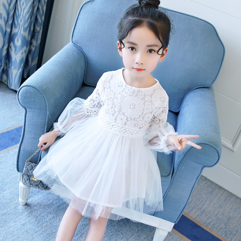 Girls Casual Dress Spring Long Sleeve Lace Floral Princess Dress For Girls 4 5 6 7 8 9 10 11 12 13 Years Teenagers Kids Clothes girl dress autumn white long sleeved clothes korean cotton size 4 5 6 7 8 9 10 11 12 13 14 years kids blue lace princess dress