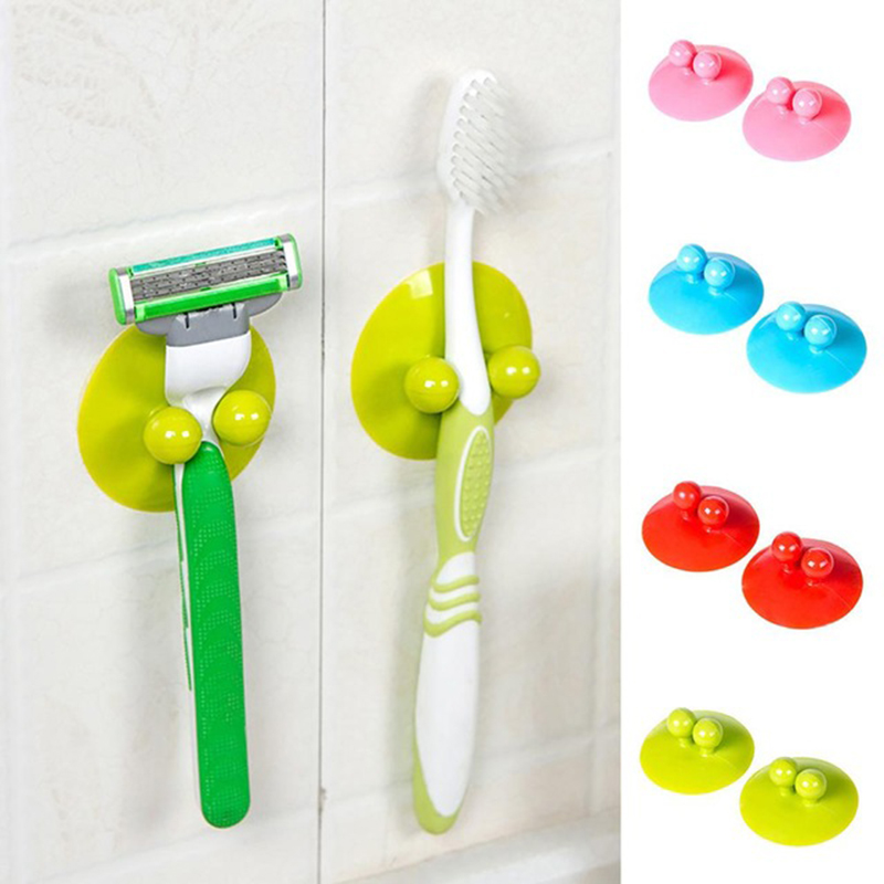 2pc Multifunction Vacuum Powerful Suction Cup Car Kitchen Bathroom Hook Wall Hook Holder Support No Drill Necessary Suction Cup
