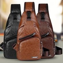 Casual Leather Single Shoulder Chest Bag Back Sling Bag  Short Trip Crossbody Messenger Bags Men Messenger Bag Pack