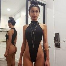 2019 Sexy Sleeveless Ribbed Halter Bodysuit Skinny Summer Romper Bodysu
