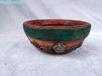 Diameter 11CM,High 5CM Nepal/Tibet Silver Old Handwork Carving Mosaic Beeswax Bowl Traditional Tibetan Handicrafts 02