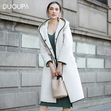 Duoupa Real Fur Coat Sheep Shearing Fur Lamb Fur Coats 2018 Winter Coat Women Wool Jacket Hooded Tops PU Lining Long Korean Tops стоимость