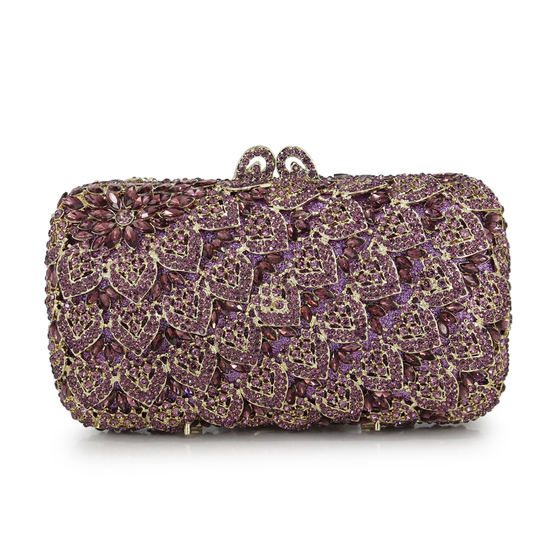 Purple Crystal Evening Bag With Chain Women Handbags Party Purse Purple Bride Wedding Clutch Bags(88234-PG) women day clutch ladies purse chain handbags women evening bag purple bride wedding party hand bags clutches bolsas mujer xa187c
