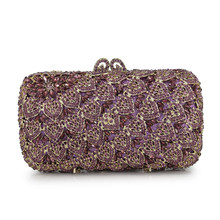 96fe4834b4 Purple Crystal Evening Bag With Chain Women Handbags Party Purse Purple  Bride Wedding Clutch Bags(