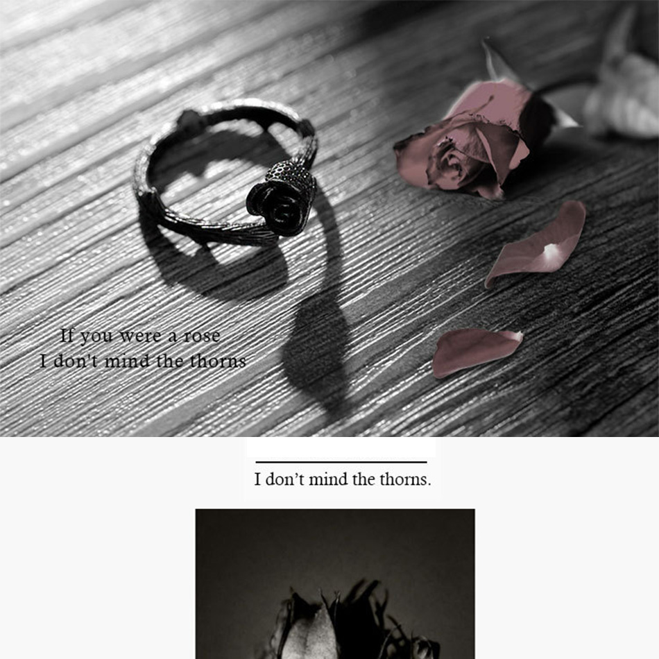 Novel Design Gun Black Plated Rose Flower Rings for Women Jewelry Adjustable Joint Ring Circle Womens Christmas Party Gift