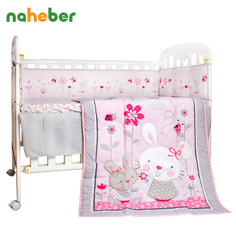 8Pcs Cotton Crib Bedding Set Pink Cartoon Rabbit Newborn Baby Bedding Bumpers/Quilt/Fitted Sheet/Bed Skirt/Blanket for Cot Bed
