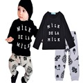 Autumn boy kids clothes set Cartoon milk letter printing T Shirt+Leaves pattern Pants boy set Brands Casual children clothes set