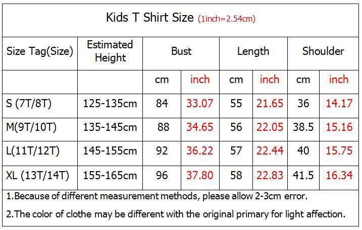 Kids Tshirt Size