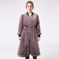 Female Velvet Winter Long Down Jacket Thick Tunic Purple Patchwork Padded Jacket Quilted Casual Women Outwear
